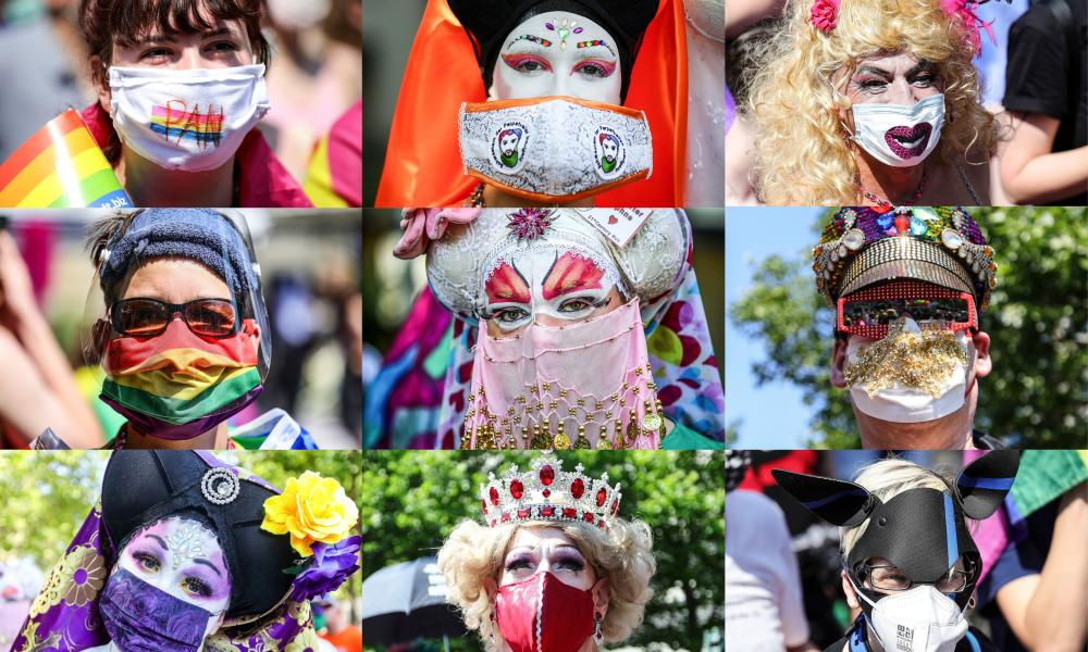 Various participants wearing face masks at the 'Pride Berlin' demonstration in Berlin, Germany, 27 June 2020.