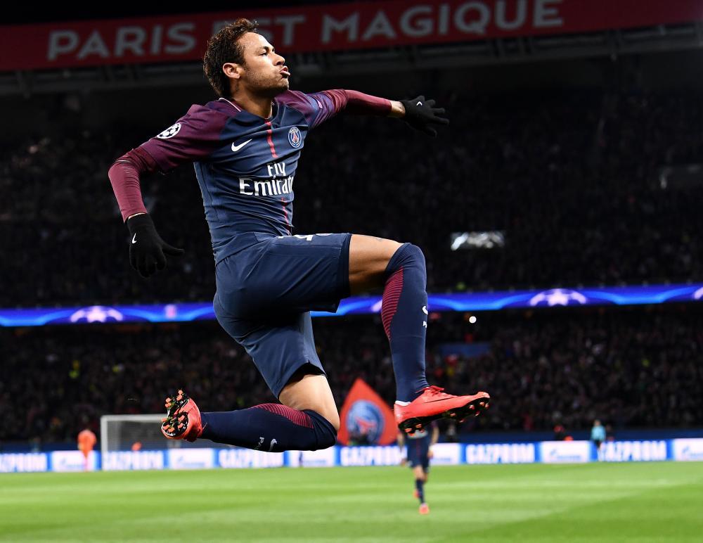Paris Saint-Germain's Brazilian striker Neymar celebrates his second goal.