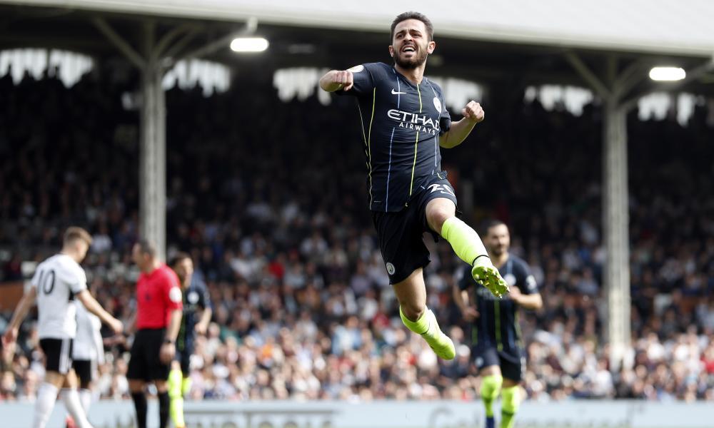 Manchester City's Bernardo Silva celebrates after scoring the opening goal.