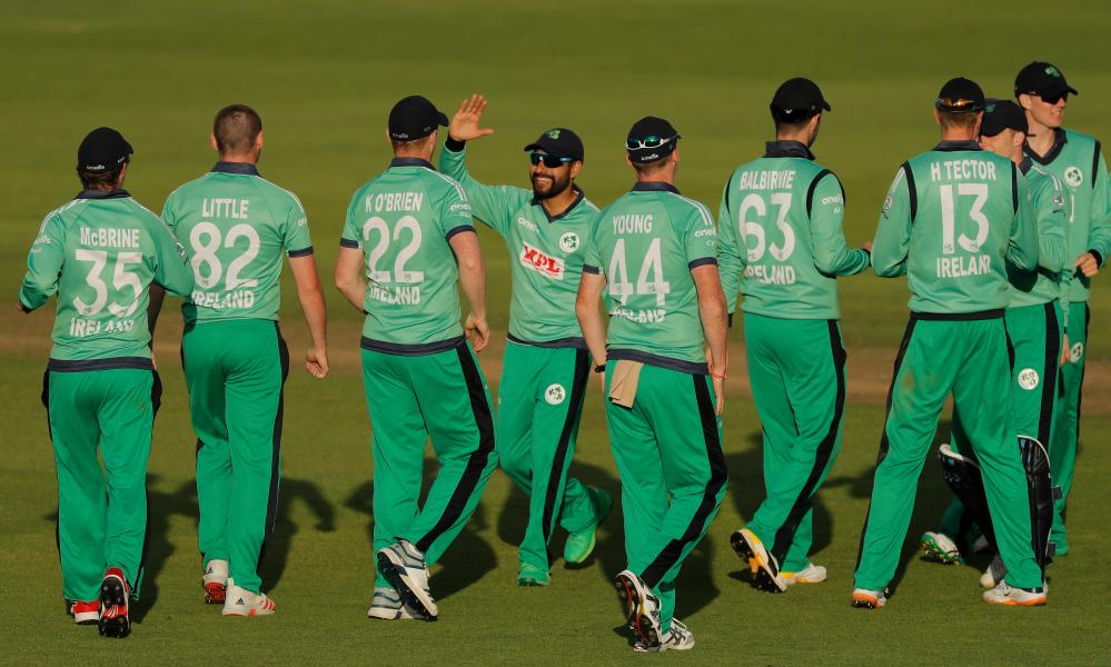 Ireland players celebrate the dismissal of Moeen Ali.