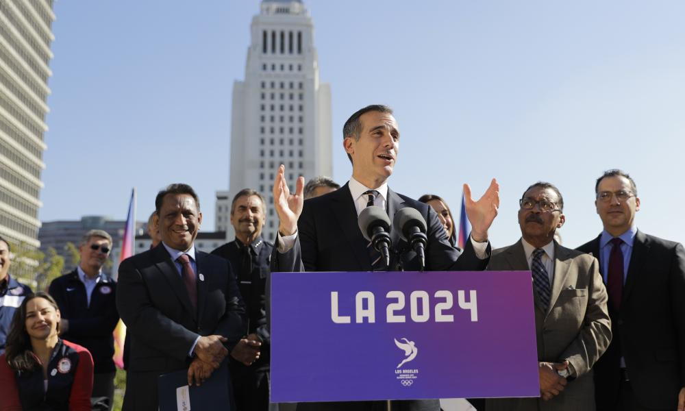 LA mayor Eric Garcetti, a rising Democratic star, has offered an optimistic vision of the city as 'a model of moral leadership'.