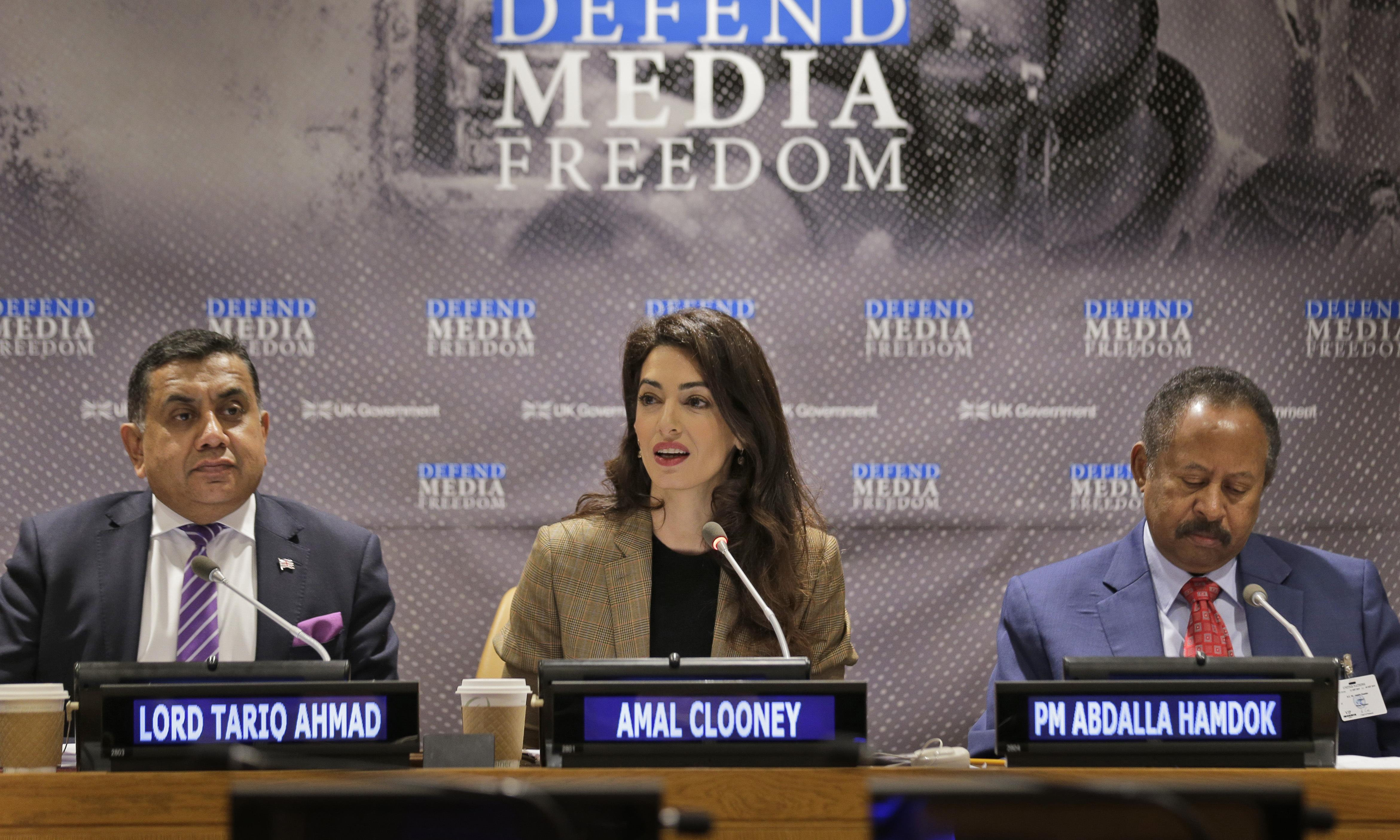 UK should be more innovative in defending press freedom, says Amal Clooney