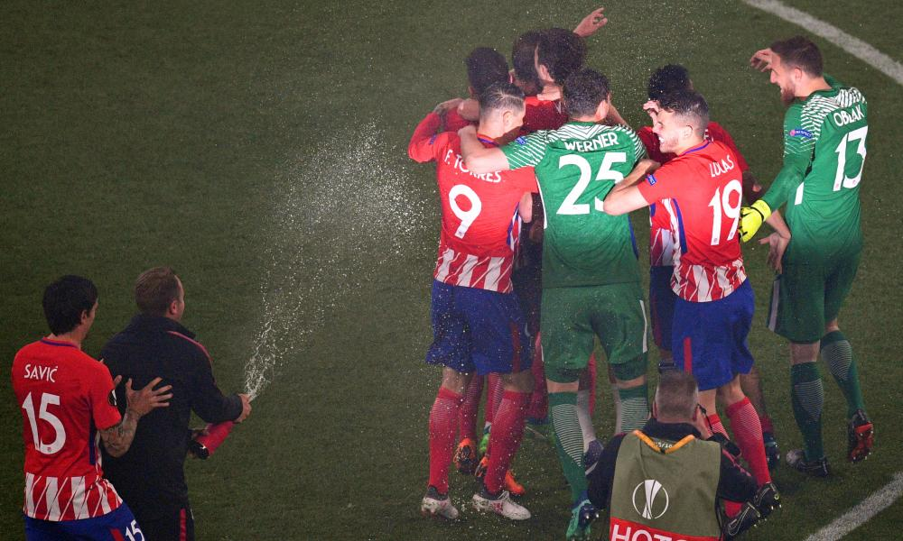 Atletico Madrid players celebrate after the UEFA Europa League final win.