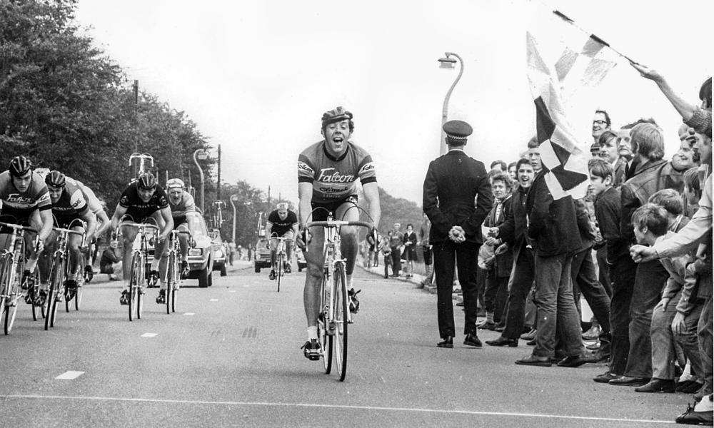 Jim Moore winning the Tom Simpson Memorial road race in Harworth, Nottinghamshire, in 1972