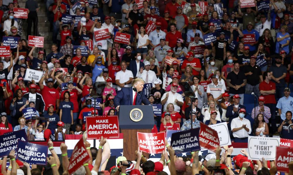 """President Donald Trump speaks at BOK Center during his rally in Tulsa, Oklahoma on 20 June 2020. The head of the Tulsa-County Health Department says Trump's campaign rally in late June """"likely contributed"""" to a dramatic surge in new coronavirus cases there."""