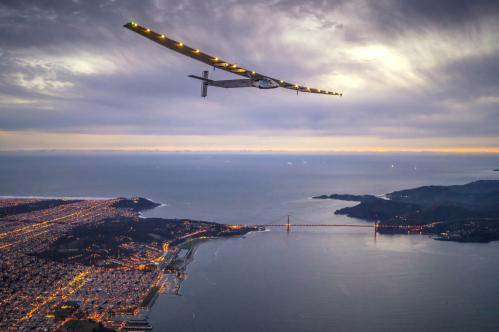 Solar Impulse 2, piloted by Swiss adventurer Bertrand Piccard, flies over the Golden Gate Bridge in San Francisco after a flight from Hawaii during its attempt to circumnavigate the globe
