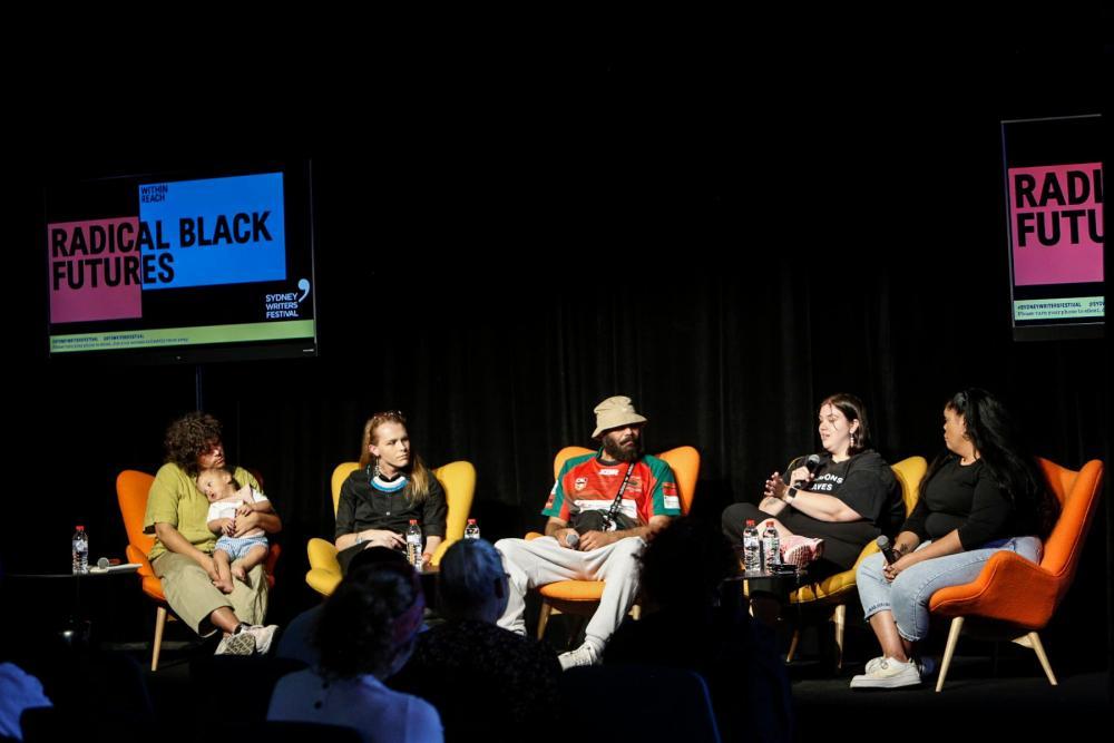 Nayuka Gorrie, Estelle Clarke, Keith Quayle, Mali Hermans and Lorna Munro at the Radical Black Futures panel.