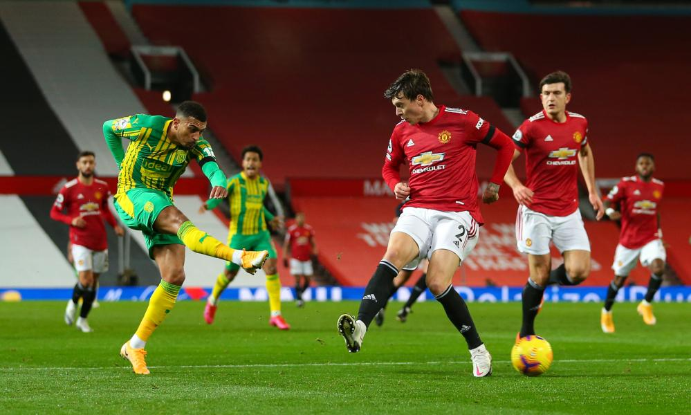 Karlan Grant of West Bromwich Albion has a shot on goal.