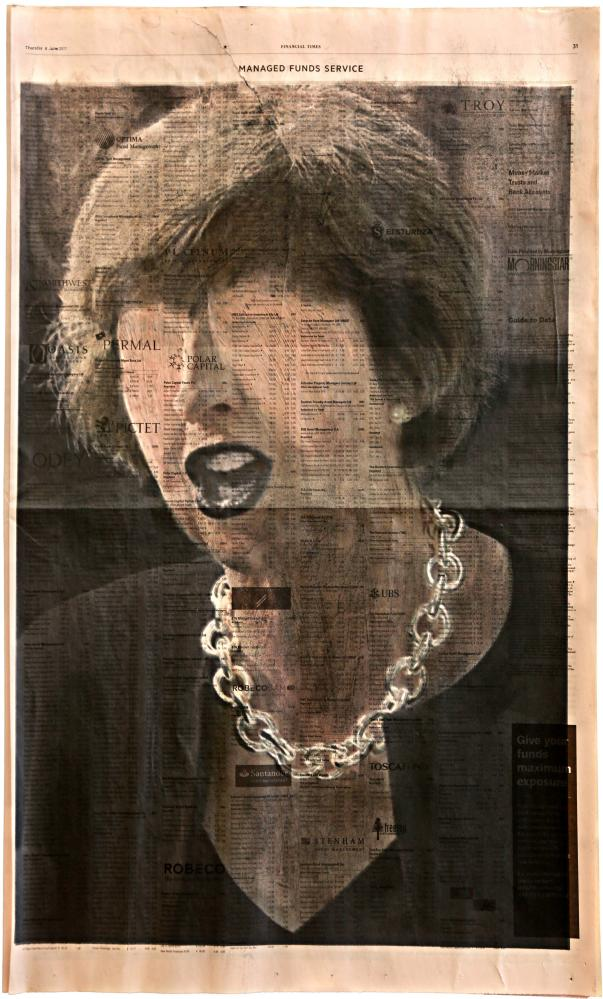 Profit, by kennardphillipps, 2017 … an image of prime minister Theresa May printed on Financial Times paper
