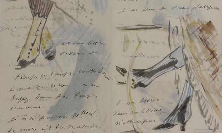 Manet made the doodles in his letters look effortless ... by using tracing paper