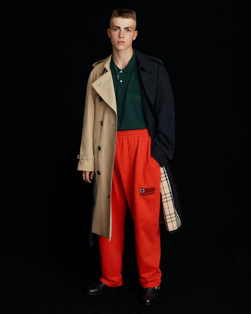 A split-colour trench coat with Burberry check lining