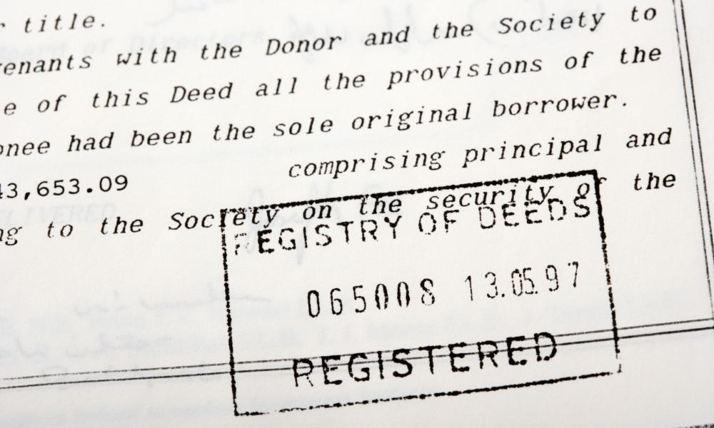 House contract deeds stamped by the registry of deeds