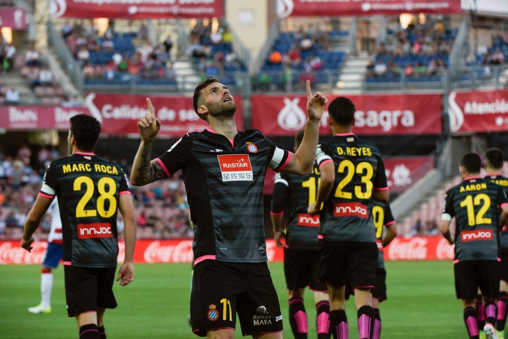Espanyol's Brazilian striker Leo Baptistao celebrates his goal against Granada