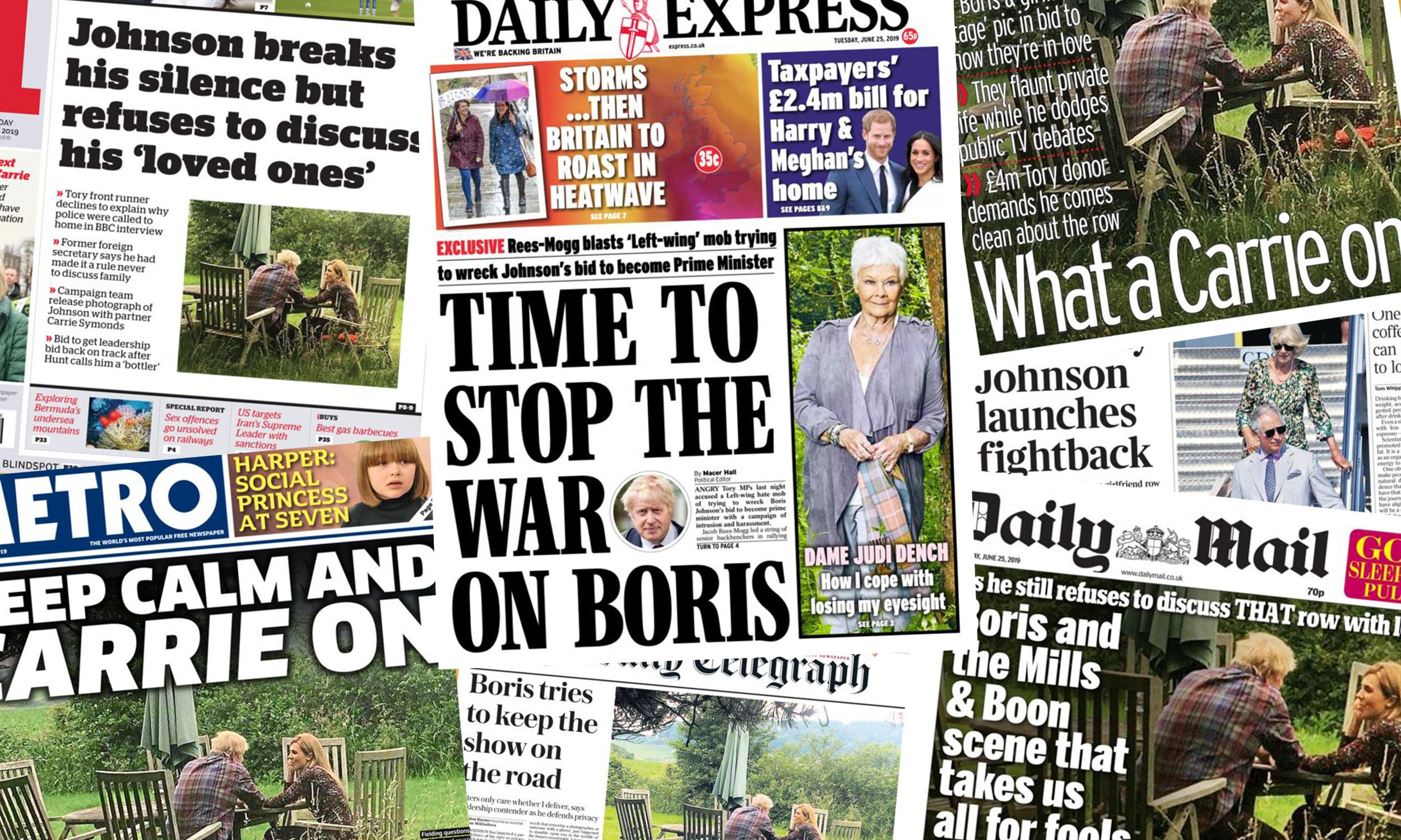 'What a Carrie on': what the papers say as Boris Johnson launches fightback