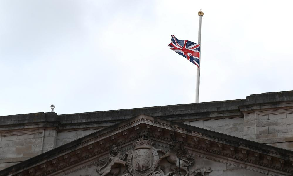 The Union Jack flag flies at half-mast on top of Buckingham Palace after it was announced that Prince Philip has died at the age of 99