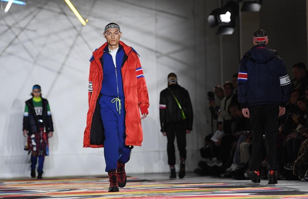 Puffer coats at the Iceberg show at London Fashion Week.