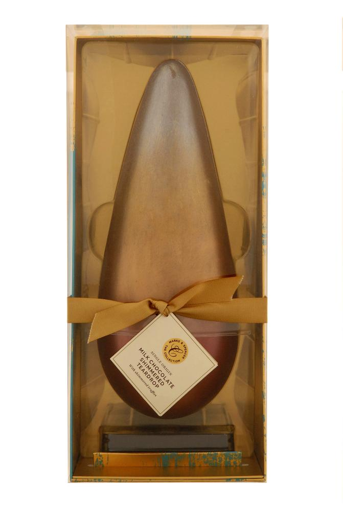 M&S single-origin milk chocolate shimmered teardrop with shimmered truffles