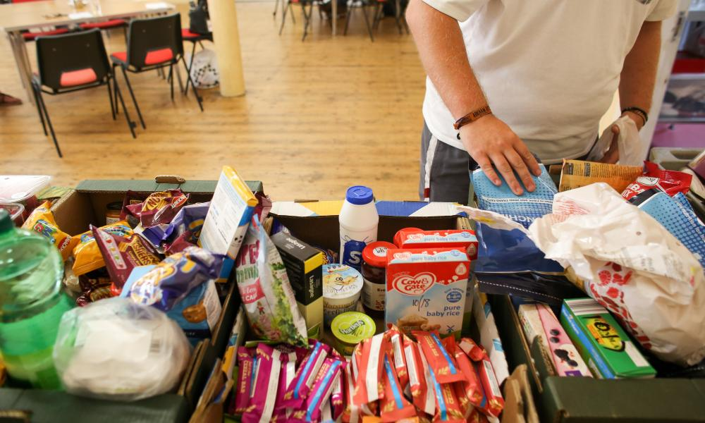A food bank at the Camborne Centenary Methodist church in Camborne, Cornwall.