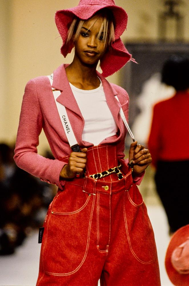 Pop culture on Lagerfeld's Chanel catwalk, 1994.
