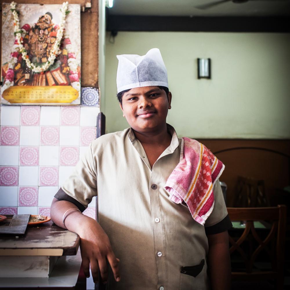 Waiter at Hotel RRR, Mysuru, India.