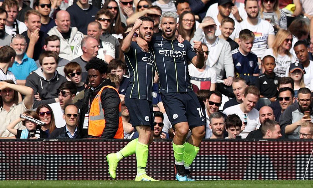 Manchester City's Sergio Aguero (right) celebrates scoring his side's second goal of the game with fellow goalscorer Bernardo Silva.