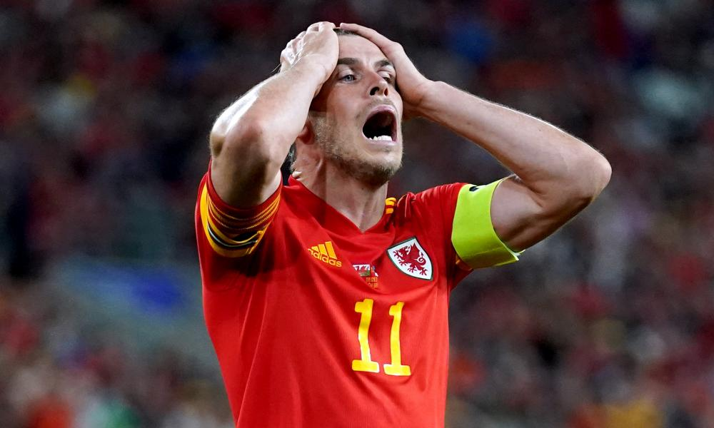 Gareth Bale is left in total disbelief after missing a chance for Wales against Estonia.