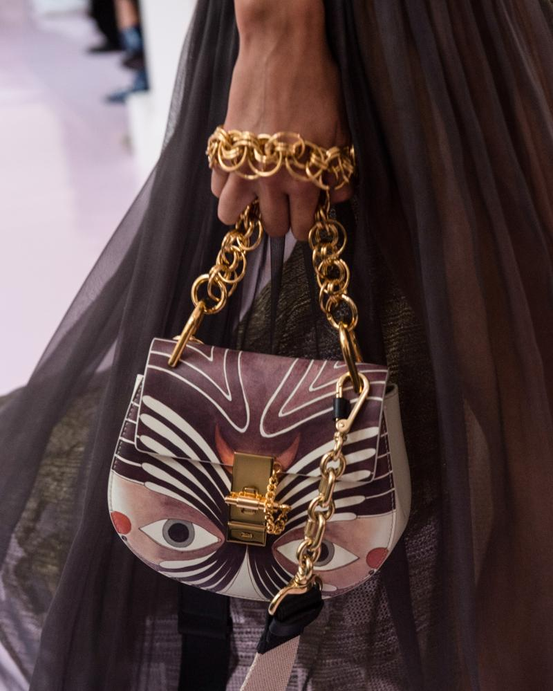 Handbag with chain strap detail at Chloé