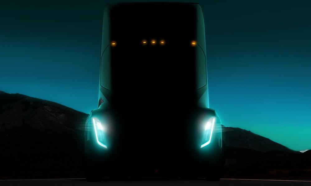 Tesla's teaser image for its prototype all-electric semi-truck.