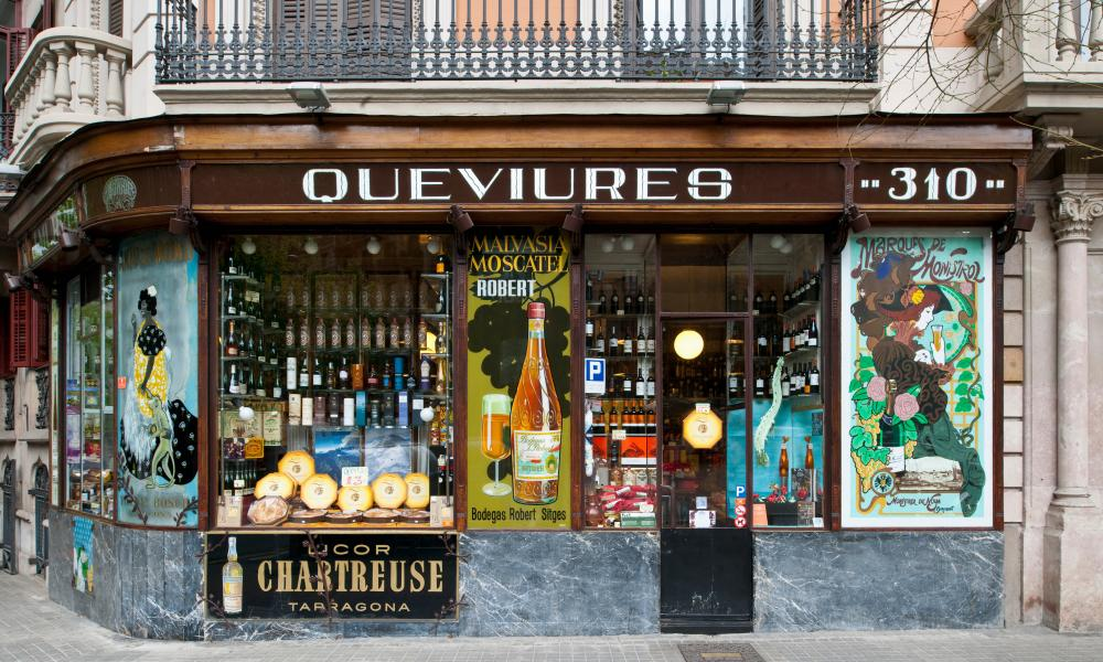 Queviures Murrià is an ancient food and wine shop at Calle Roger de Lluria, Eixample district, Barcelona. Spain.