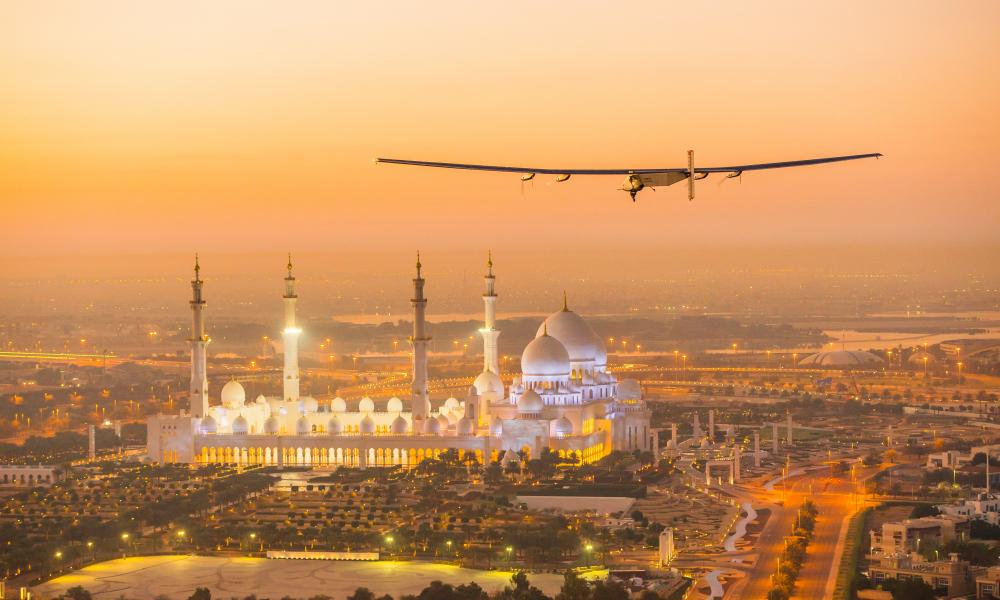 The first test flight of Solar Impulse 2 in Abu Dhabi, UAE, a plane whose electric batteries are 97% energy efficient and powered by the sun.