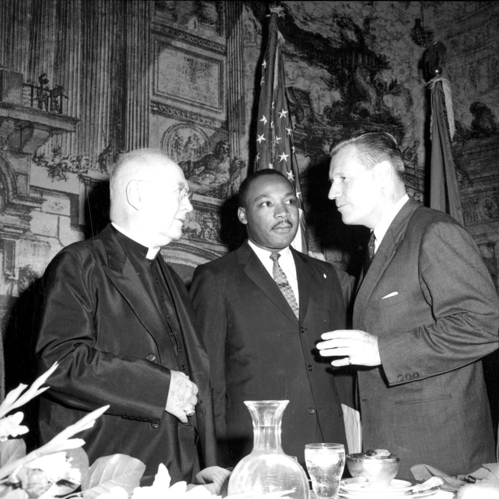 King with Archbishop of New York Francis Joseph Cardinal Spellman and Governor Nelson Rockefeller at the New York Civil War Centennial Commission.