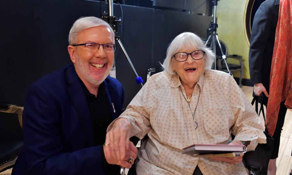 Ruthie Tompson with film Critic Leonard Maltin  attending the screening of An Invisible History: Trailblazing Women of Animation, 2018.