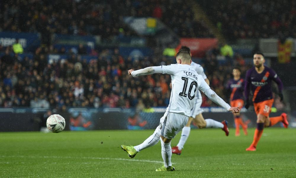 Swansea City's Bersant Celina fires in the Swans' second.