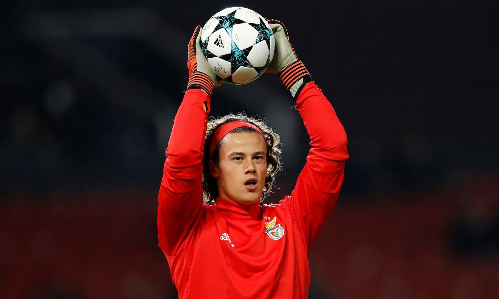 Benfica's Mile Svilar warms up at Old Trafford.