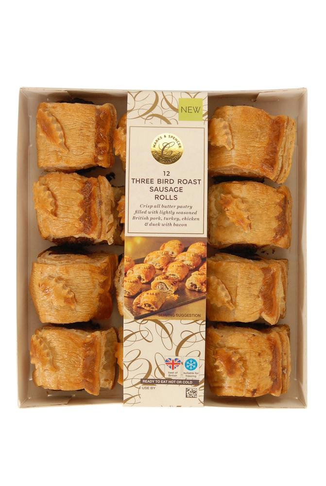 M&S 12 THREE BIRD ROAST SAUSAGE ROLLS