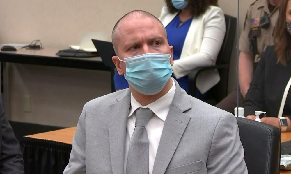 Derek Chauvin in court on Friday.