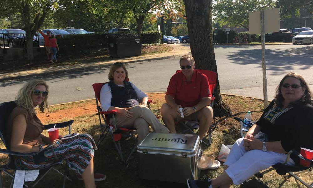 Jessica Lavin, Pat Sury and Rosanna Lavin, who live outside Charlottesville. After the white supremacist rally, Lavin and her friends have tried to talk more about race.