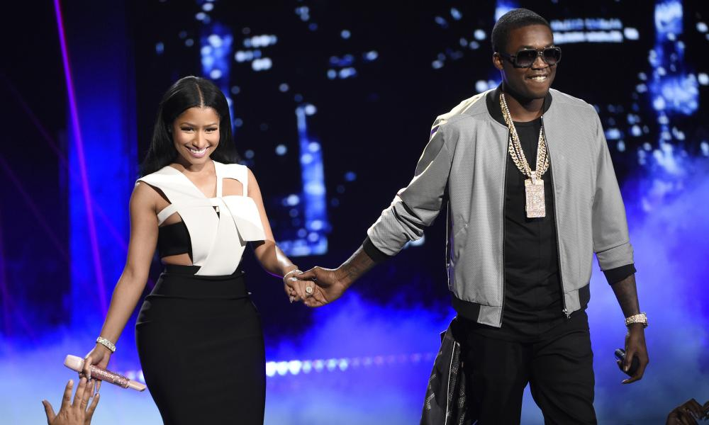 Nicki Minaj, left, and Meek Mill at the BET Awards at the Microsoft Theater in Los Angeles in 2015.