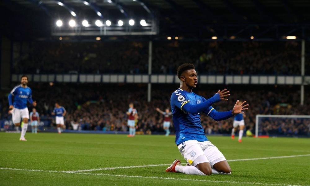 Demarai Gray celebrates after scoring Everton's third goal within six second-half minutes.