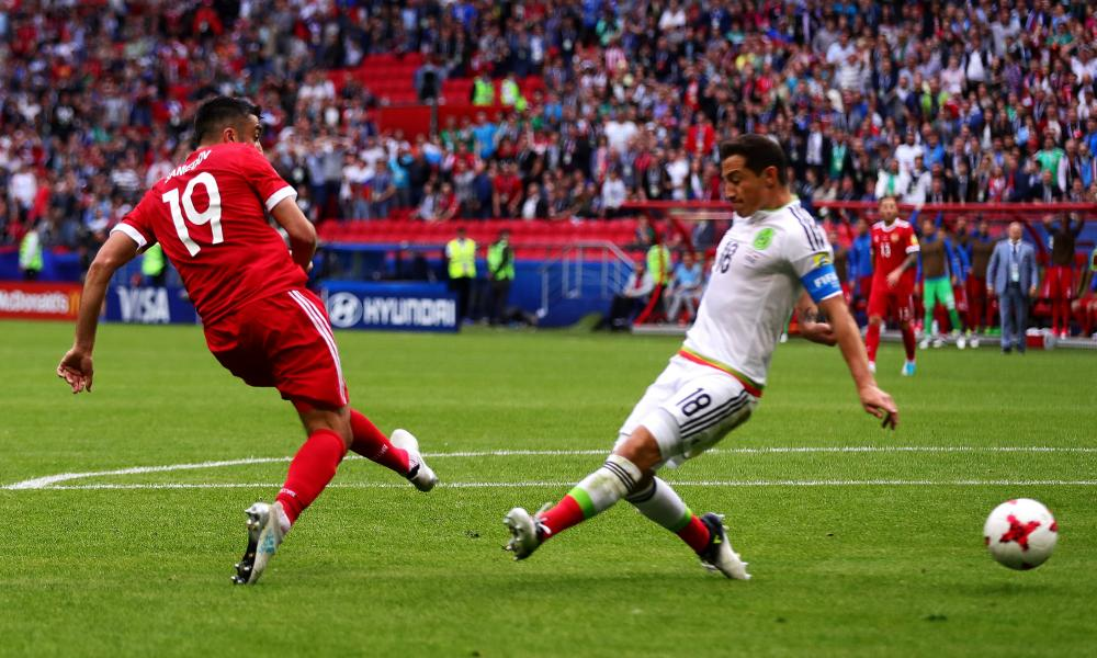 Alexander Samedov of Russia scores the opening goal.