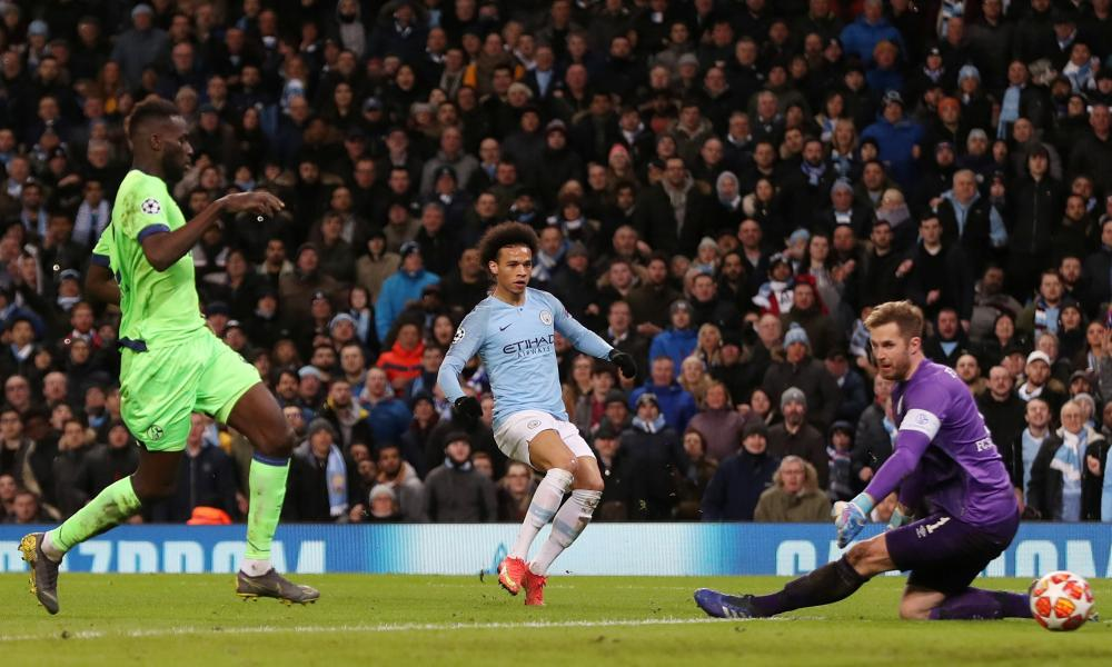 Leroy Sane smashes in City's third.