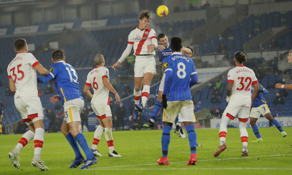 Southampton's Jannik Vestergaard rises highest to level the scores at 1-1.
