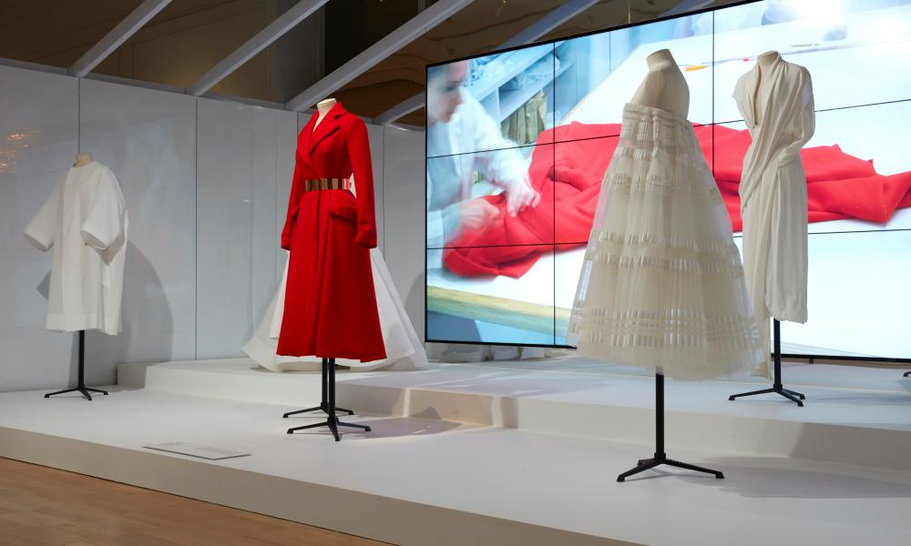 Raf Simons coat and toiles for Dior on display in the NGV House of Dior: 70 years of haute couture exhibition
