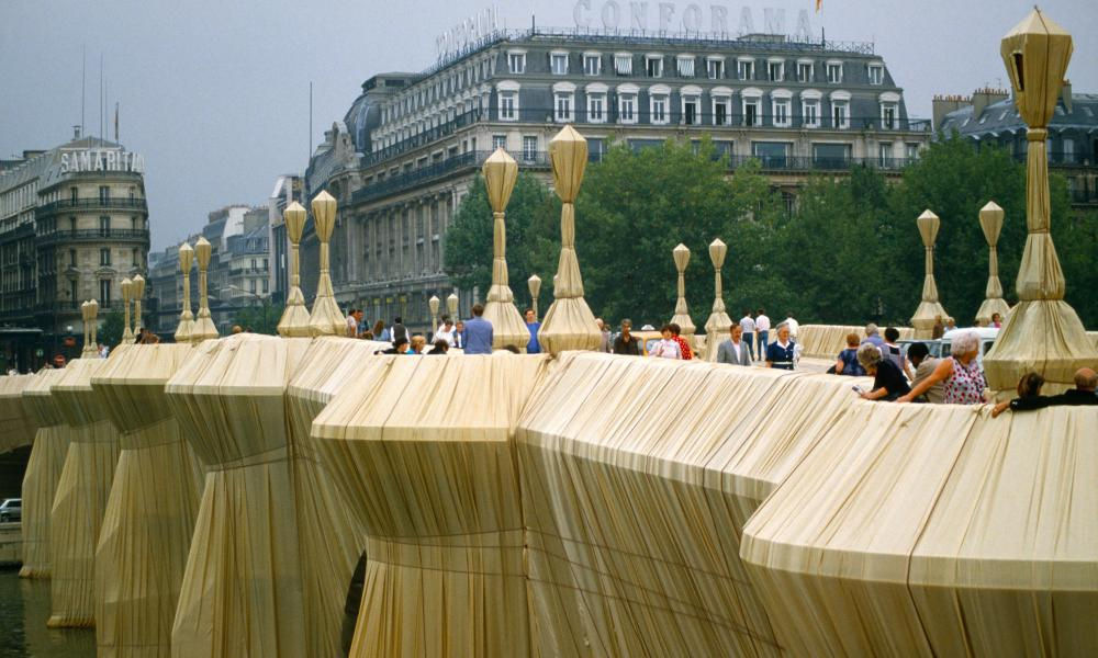 The Pont Neuf in Paris, wrapped by Christo in 1985.