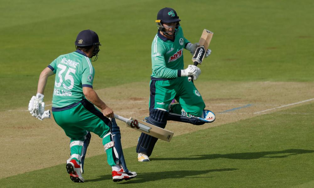 Ireland's Andy McBrine and Curtis Campher narrowly avoid each other as they rack up the runs.