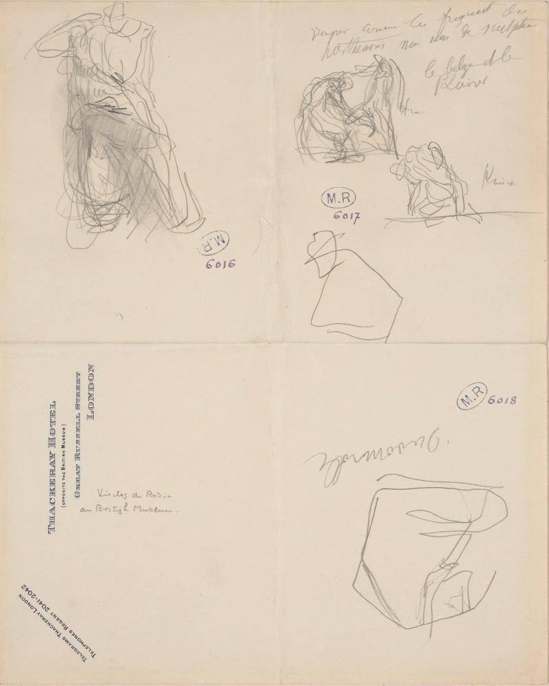 Sketches by Auguste Rodin, including figure K from the Parthenon and a metope from the south side of the Parthenon, 1905.