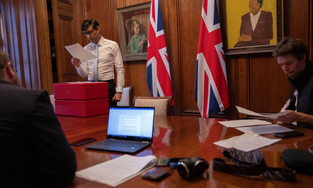 Rishi Sunak working on his spending review speech in his office in 11 Downing Street yesterday.