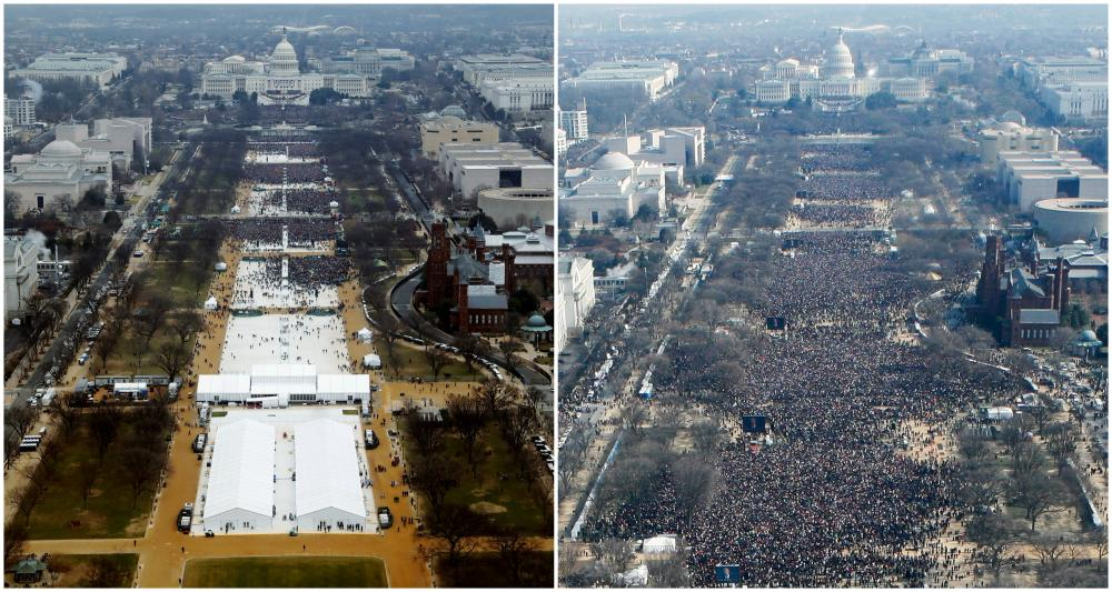 Crowds on the National Mall just before Donald Trump's inauguration in 2017 (left) and Barack Obama's in 2009.