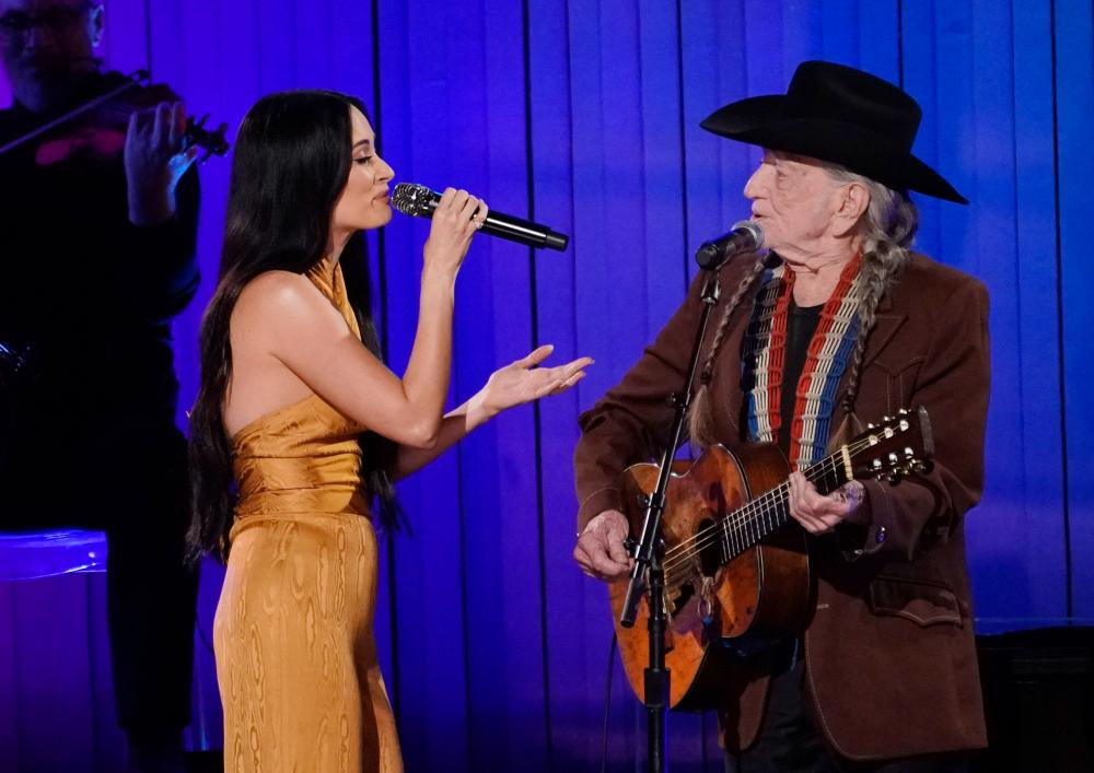 Kacey Musgraves and Willie Nelson perform onstage during the 53rd annual CMA Awards at the Bridgestone Arena on November 13, 2019 in Nashville, Tennessee