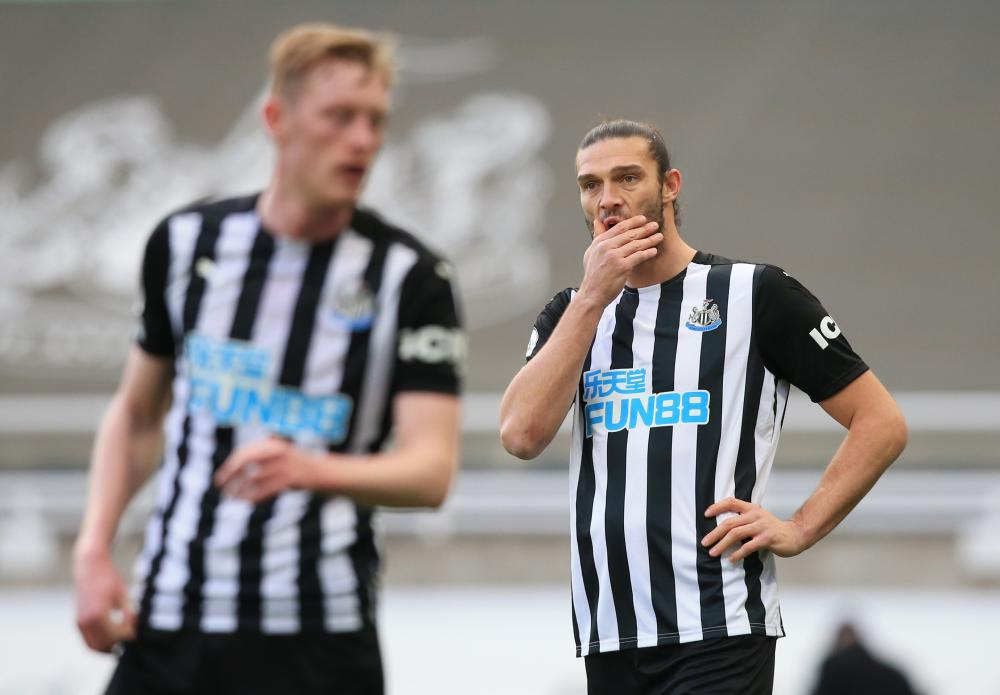 Newcastle United's Andy Carroll reacts.